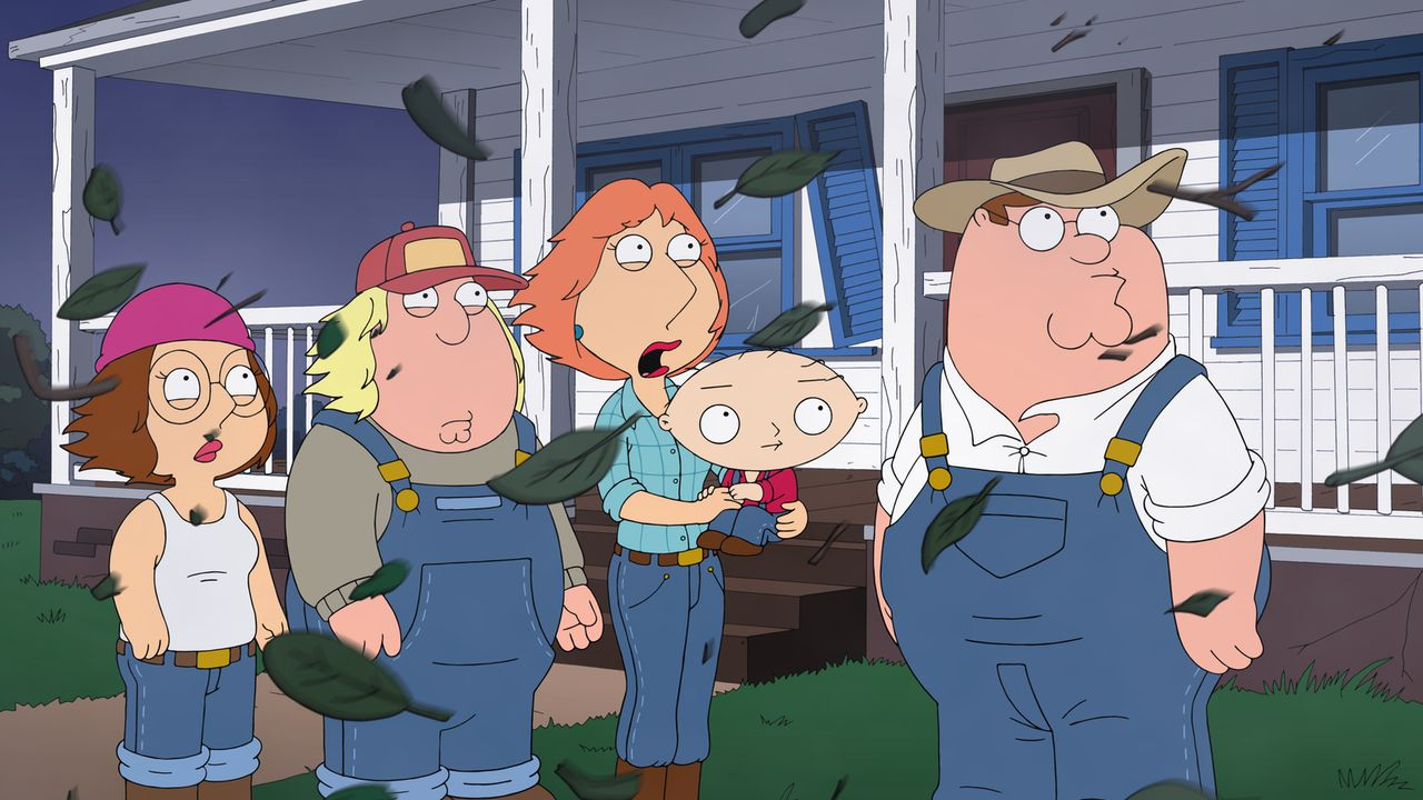 Weil es in Quahog immer krimineller zugeht, flüchten Chris (2.v.l.), Lois (M.), Megan (l.), Peter (r.) und Stewie (2.v.r.) aufs Land und werden Farm... - Bildquelle: 2013 Twentieth Century Fox Film Corporation. All rights reserved.