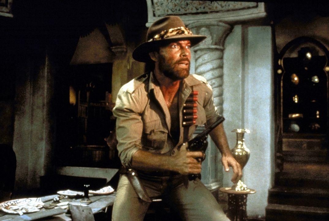 Auf der Suche nach dem verschollenen Archäologen Professor Huston, muss der Abenteurer Allan Quatermain (Richard Chamberlain) oft zur Waffe greifen... - Bildquelle: Cannon Group
