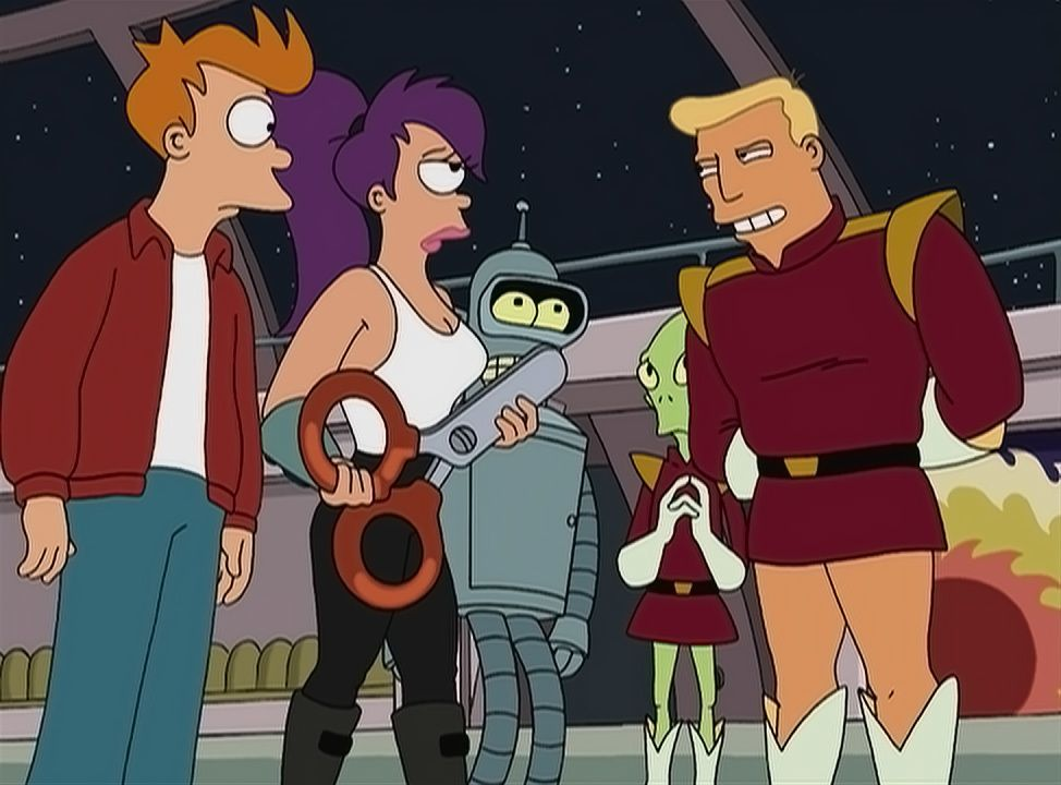 (v.l.n.r.) Fry; Leela; Bender; Kif Kroker; Zapp Brannigan - Bildquelle: 1999 Fox and its related entities. All rights reserved.