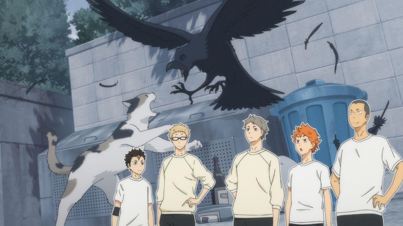 """(v.l.n.r.) Yu Nishinoya; Kei Tsukishima; Koshi Sugawara; Shoyo Hinata; Ryunosuke Tanaka - Bildquelle: H.Furudate / Shueisha,""""Haikyu!!?Project,MBS"""