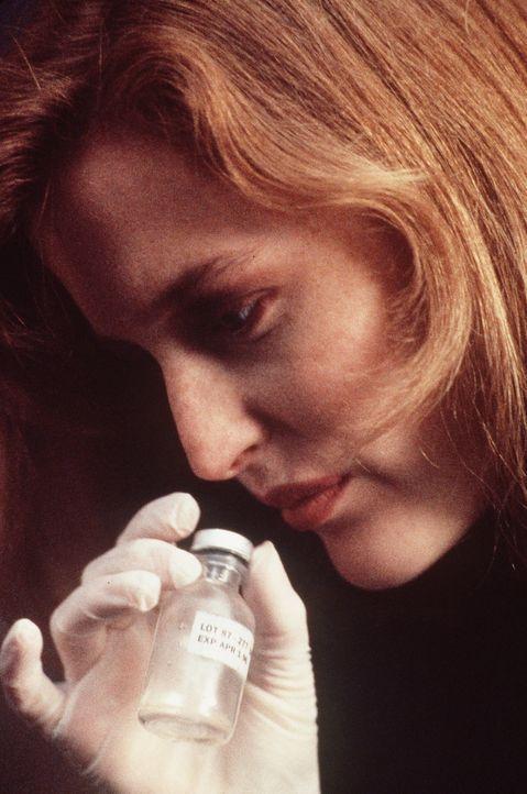 Scully (Gillian Anderson) findet bei einem toten Landarzt ein Fläschchen mit Impfstoff, der außerirdische DNS enthält und sowohl Kindern als auch Ri... - Bildquelle: TM +   Twentieth Century Fox Film Corporation. All Rights Reserved.