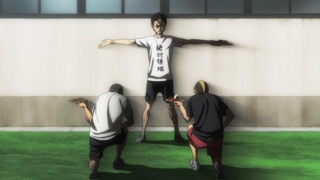 "(v.l.n.r.) Ryunosuke Tanaka; Yu Nishinoya; Taketora Yamamoto - Bildquelle: H. Furudate / Shueisha, ""HAIKYU!! 2nd Season"" Project, MBS  All Rights Reserved."