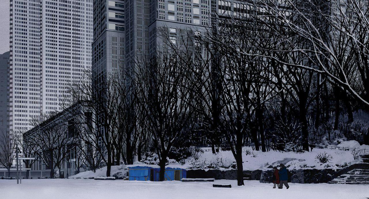 Am Weihnachtsabend finden das junge Mädchen Miyuki (l.), Alkoholiker Gin (r.) und Drag Queen Hana ein Baby in einem Müllberg. Was tun? - Bildquelle: 2003 Satoshi Kon, Mad House and Tokyo Godfathers Committee. All Rights Reserved.