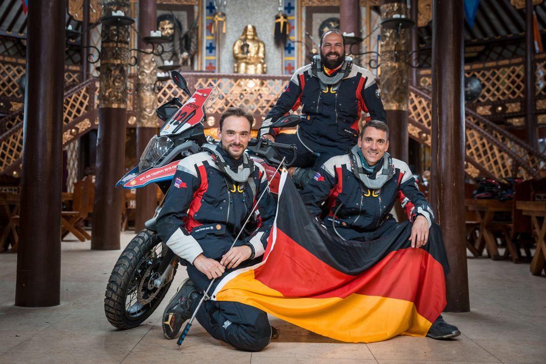 Wie schlägt sich das deutsche Team um (v.l.n.r.) Valentin Müller, Michael Hänsel und Martin Kern bei der anspruchsvollen Offroad-Challenge?