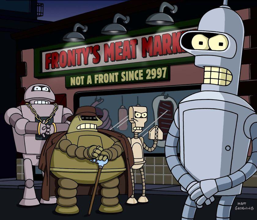 Glücklicherweise kann Bender (r.) den Chef der Roboter-Mafia, Don Bot (2.v.l.), überreden, die Tötung der Gefangenen selbst zu übernehmen ... - Bildquelle: und TM Twenthieth Century Fox Film Corporation - Alle Rechte vorbehalten.