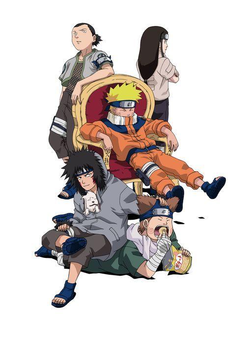 (v.l.n.r.) Shikamaru Nara; Kiba Inuzuka; Naruto Uzumaki; Chouji Akimichi; Neji Hyuuga - Bildquelle: 2002 MASASHI KISHIMOTO. ALL RIGHTS RESERVED.
