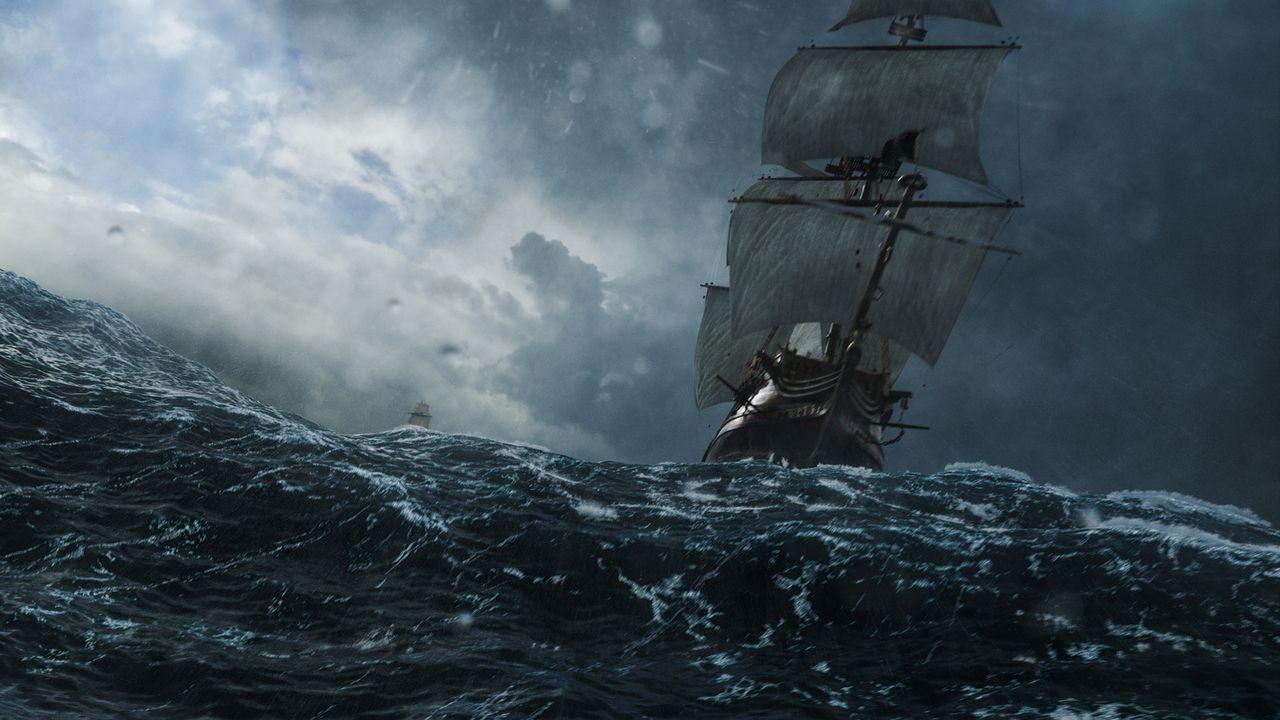 """Um dem Piratenjäger zu entkommen, segeln Captain Flint und seine Mannschaft mit der """"Walrus"""" direkt in einen gefährlichen Sturm ... - Bildquelle: 2016 Starz Entertainment, LLC. All Rights Reserved"""