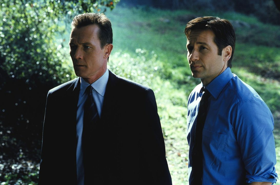 Doggett (Robert Patrick, l.) und Mulder (David Duchovny, r.) haben großen Sorgen, weil Scully wegen Komplikationen ins Krankenhaus eingeliefert wurd... - Bildquelle: TM +   2000 Twentieth Century Fox Film Corporation. All Rights Reserved.
