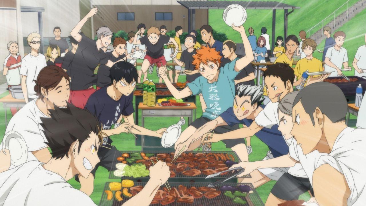 """(v.l.n.r.) Yu Nishinoya; Asahi Azumane; Tobio Kageyama; Shoyo Hinata; Kotaro Bokuto; Chikara Ennoshita; Koshi Sugawara; Ryunosuke Tanaka - Bildquelle: H. Furudate / Shueisha, """"HAIKYU!! 2nd Season"""" Project, MBS  All Rights Reserved."""