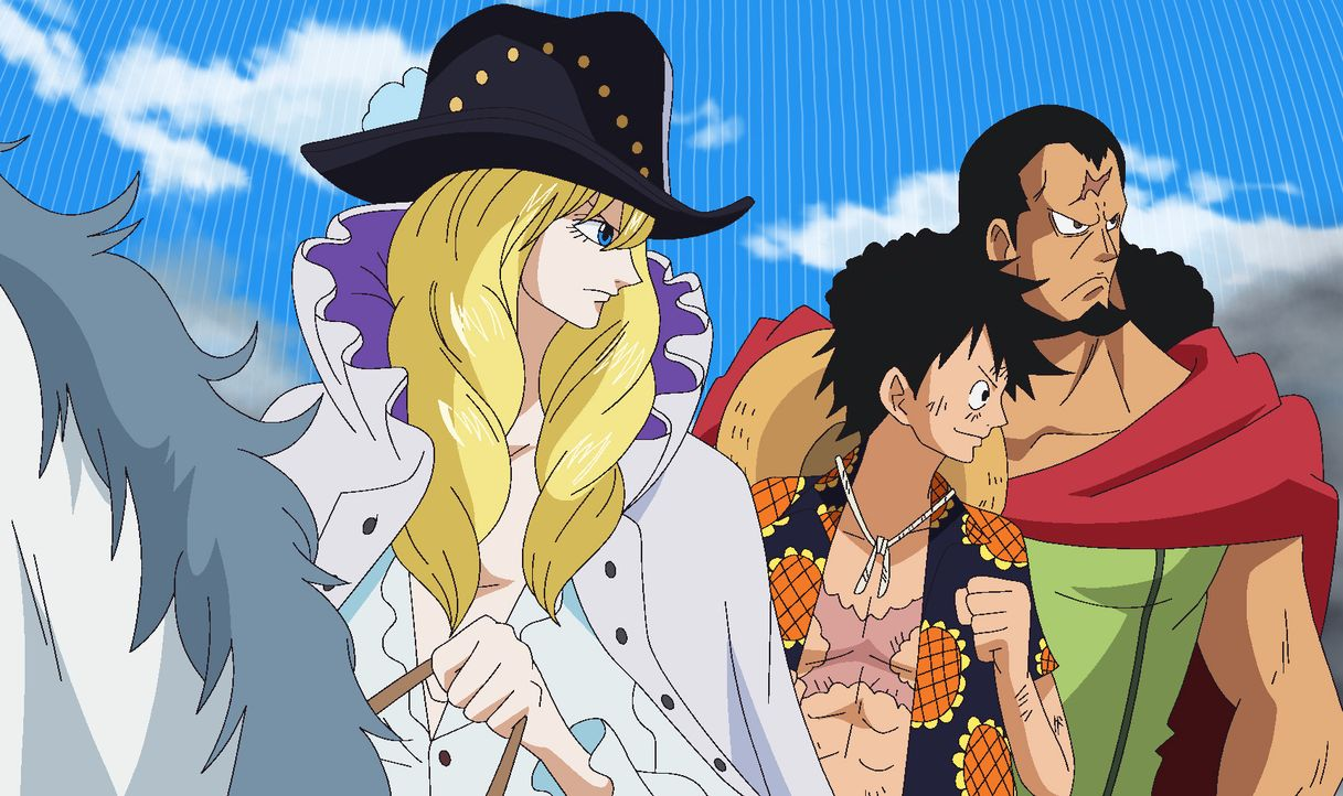 (v.l.n.r.) Cavendish; Ruffy; Kyros - Bildquelle: Eiichiro Oda/Shueisha, Toei Animation