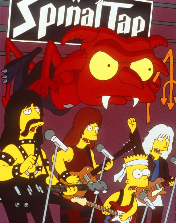 Die Rockgruppe 'Spinal Tap' gibt sich die Ehre, mit Bart Simpson (2.v.r.) auf der Bühne zu spielen. - Bildquelle: und TM Twenthieth Century Fox Film Corporation - Alle Rechte vorbehalten