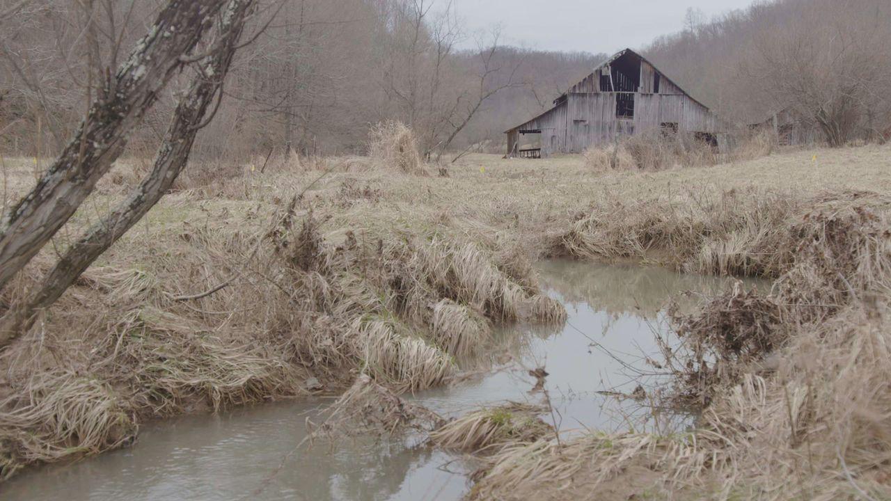 Die Gegend um die Scheune ist so nass, dass Mark und sein Team ihre eigene Straße bauen müssen, nur um in die Scheune zu gelangen. - Bildquelle: 2015, DIY Network/Scripps Networks, LLC. All Rights Reserved.
