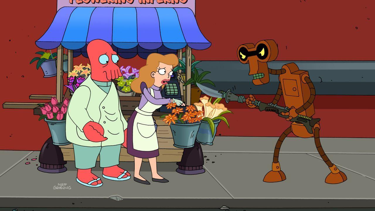Als Zoidberg (l.) einen Verbrecher (r.) vertreibt, der die Blumenverkäuferin Marianne (M.) bedroht, verlieben sie sich ineinander. Doch haben sie ei... - Bildquelle: Twentieth Century Fox Film Corporation. All rights reserved.