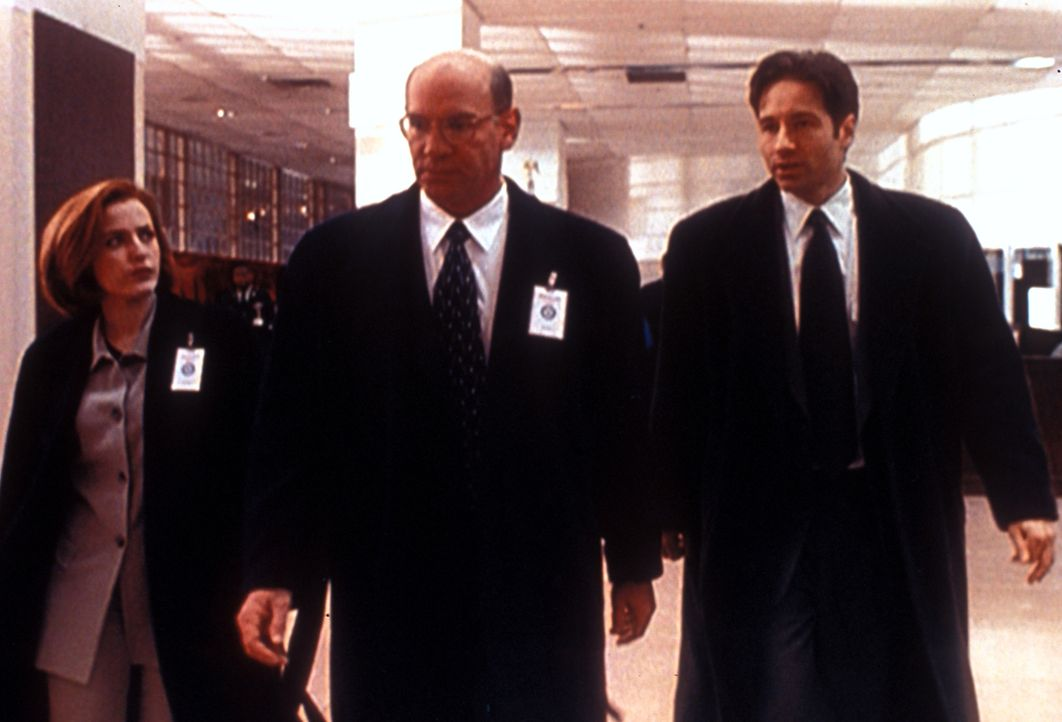Scully (Gillian Anderson, l.), Skinner (Mitch Pileggi, M.) und Mulder (David Duchovny, r.) sollen gefährdete hochrangige Militärs vor einem  Attentä... - Bildquelle: TM +   2000 Twentieth Century Fox Film Corporation. All Rights Reserved.
