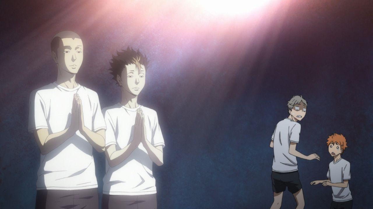 (v.l.n.r.) Ryunosuke Tanaka; Yu Nishinoya; Koshi Sugawara; Shoyo Hinata - Bildquelle: H. Furudate / Shueisha, >HAIKYU!! 2nd Season< Project, MBS  All Rights Reserved.
