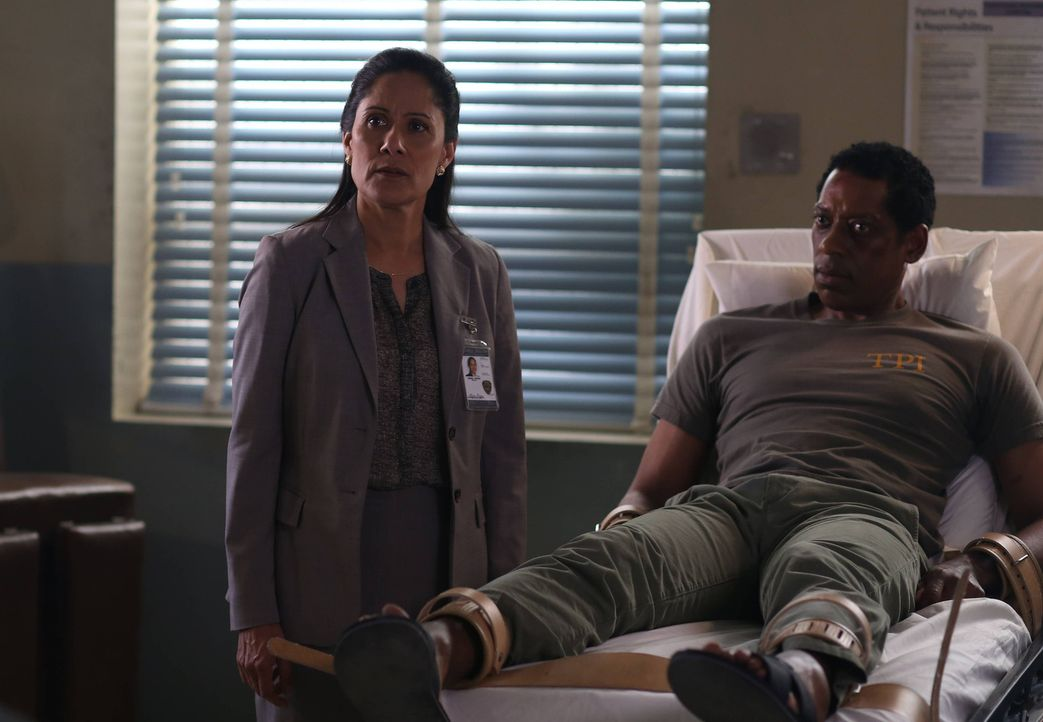 Sheriff Reyes (Sakina Jaffrey, l.) sorgt nicht nur bei Irving (Orlando Jones, r.) für einige Probleme ... - Bildquelle: 2014 Fox and its related entities. All rights reserved.