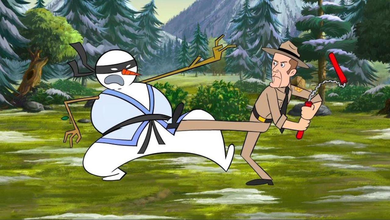Jack (r.) muss sich mit einem Ninja-Schneemann (l.) auseinandersetzen ... - Bildquelle: Universal Television