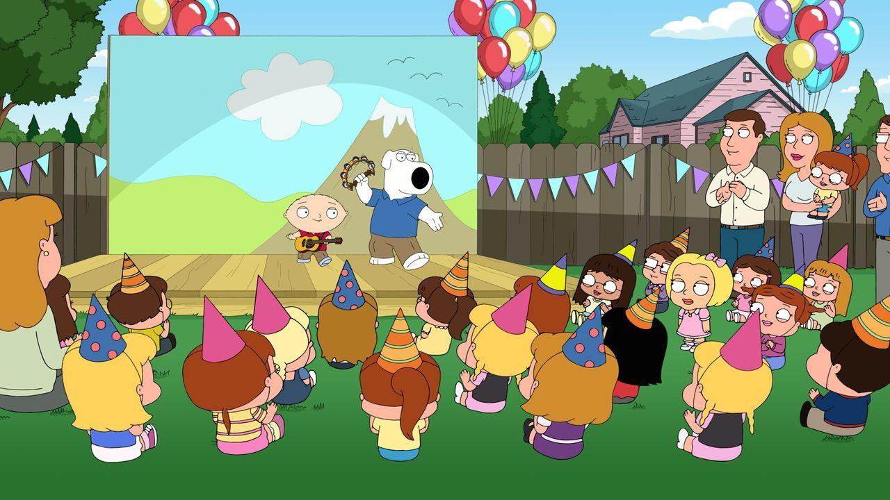 Mit ihren Liedern über das wahre Leben als Kind, treten Stewie und Brian auf Kindergeburtstagen auf. Doch dann taucht Stewies Verflossene Olivia auf... - Bildquelle: 2016-2017 Fox and its related entities. All rights reserved.