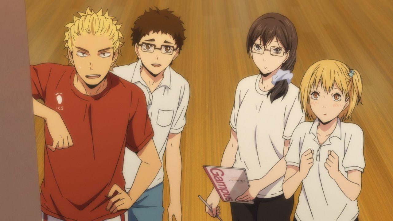 "(v.l.n.r.) Keishin Ukai; Ittetsu Takeda; Kiyoko Shimizu; Hitoka Yachi - Bildquelle: H. Furudate / Shueisha, ""HAIKYU!! 2nd Season"" Project, MBS  All Rights Reserved."