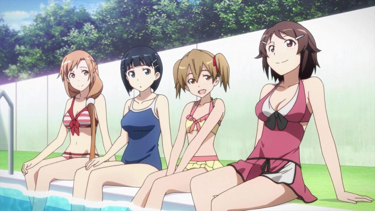 (v.l.n.r.) Yuuki Asuna; Kirigaya Suguha; Ayano Keiko; Shinozaki Rika; - Bildquelle: REKI KAWAHARA / ASCII MEDIA WORKS / SAO Project
