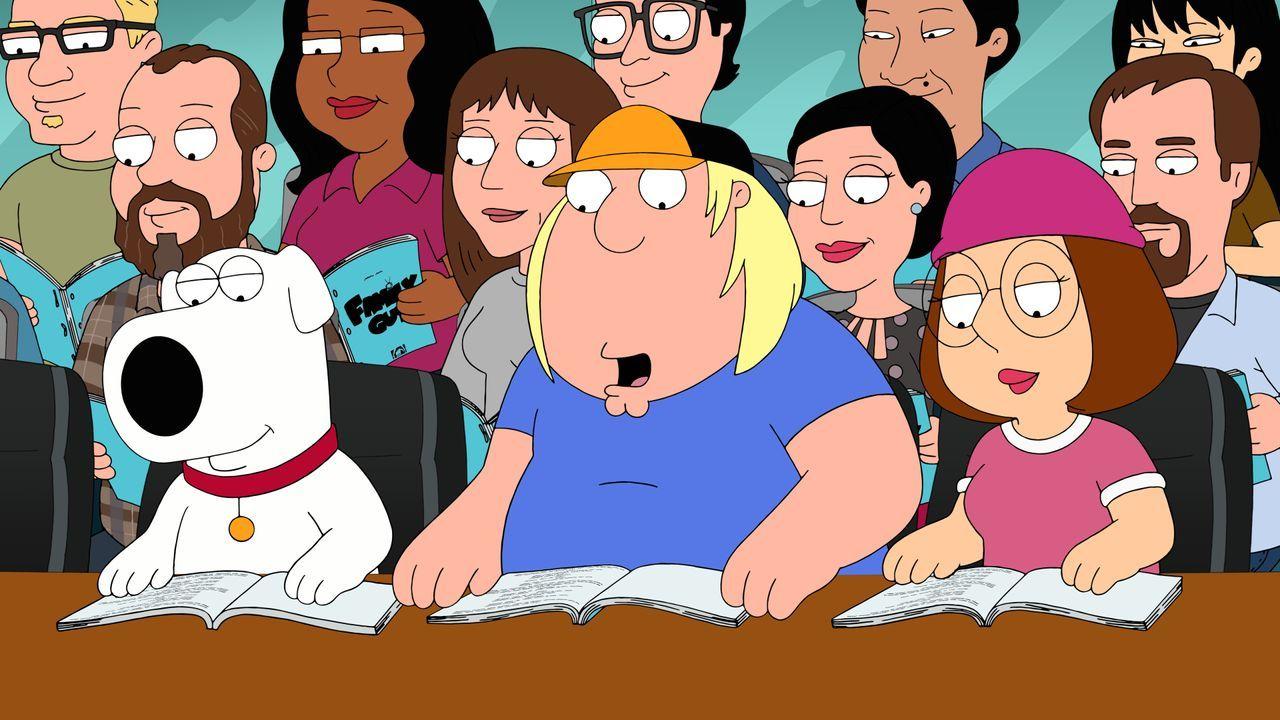 Wie jede Woche kommen die Darsteller Brian (l.), Chris (M.) und Meg (r.) von Family Guy zusammen, um die neue Folge Probe zu lesen. Funktionieren di... - Bildquelle: 2016-2017 Fox and its related entities. All rights reserved.