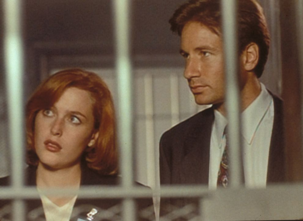 Scully (Gillian Anderson, l.) und Mulder (David Duchovny, r.) erfahren im Hinrichtungstrakt des Gefängnisses, dass einer der zum Tode Verurteilten k... - Bildquelle: TM +   Twentieth Century Fox Film Corporation. All Rights Reserved.