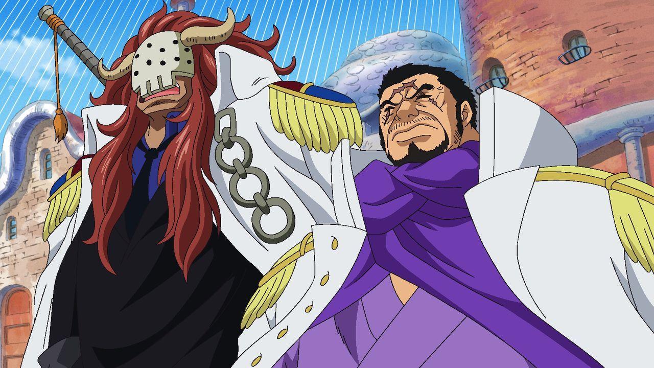 Bastille (l.); Kaptain Fujitora (r.) - Bildquelle: Eiichiro Oda/Shueisha, Toei Animation