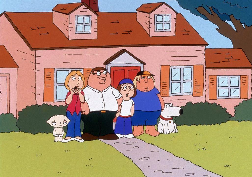 """(5. Staffel) - Die Griffins sind eine nach außen hin """"völlig normale"""" Familie: (v.l.n.r.) Stewie, Lois, Peter, Meg, Chris und Brian. - Bildquelle: TM +   2005 Twentieth Century Fox Film Corporation. All Rights Reserved."""