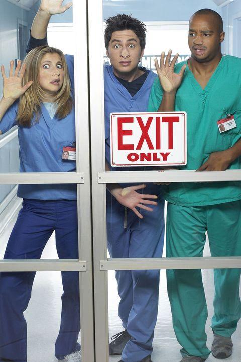 (1. Staffel) - Es läuft nicht immer alles nach Plan: John Dorian (Zach Braff, M.), Turk (Donald Faison, r.) und Elliot (Sarah Chalke, l.) ... - Bildquelle: Touchstone Television