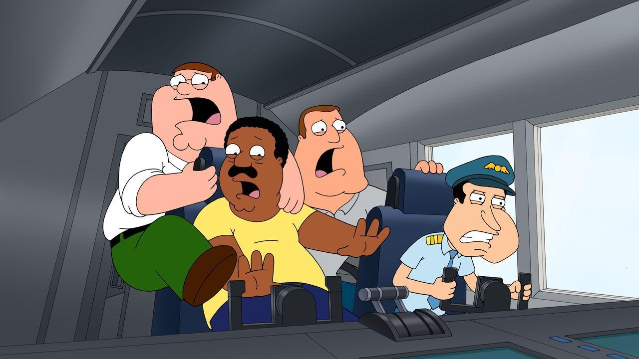 Als Terroristen das Flugzeug kapern, kommt es für (v.l.n.r.) Peter, Cleveland, Joe und Quagmire auf dem Rückflug von San Francisco zu Turbulenzen ..... - Bildquelle: 2016-2017 Fox and its related entities. All rights reserved.