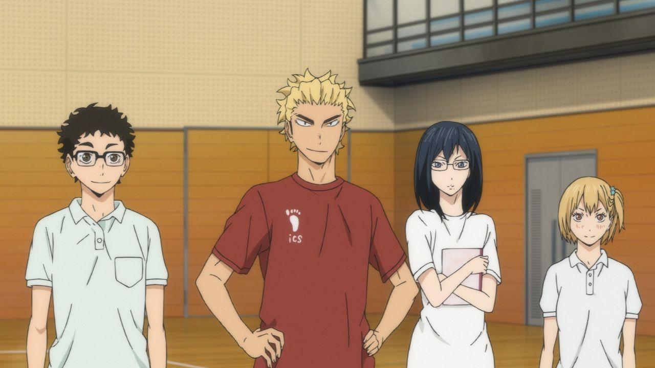 "(v.l.n.r.) Ittetsu Takeda; Keishin Ukai; Kiyoko Shimizu; Hitoka Yachi - Bildquelle: H. Furudate / Shueisha, ""HAIKYU!! 2nd Season? Project, MBS  All Rights Reserved."