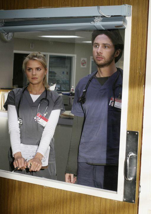 J.D. (Zach Braff, r.) nimmt Denise (Eliza Coupe, l.) unter seine Fittiche, und muss feststellen, dass sie nach wie vor sehr grob und kein bisschen m... - Bildquelle: Touchstone Television