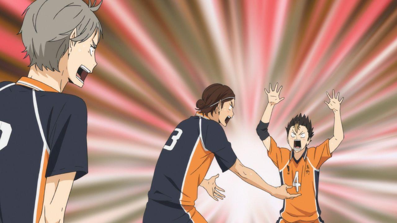 (v.l.n.r.) Koshi Sugawara; Asahi Azumane; Yu Nishinoya - Bildquelle: H. Furudate / Shueisha, >HAIKYU!! 2nd Season< Project, MBS  All Rights Reserved.