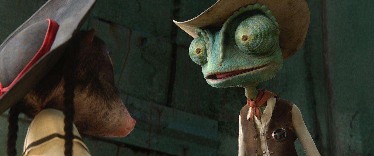 Die kleine Wüstenmaus Priscilla (l.) klärt Rango (r.) sofort auf, dass es Fremde nicht lange in der Stadt Dirt aushalten. Doch wird Rango ihr das Ge... - Bildquelle: Paramount Pictures. All rights reserved.