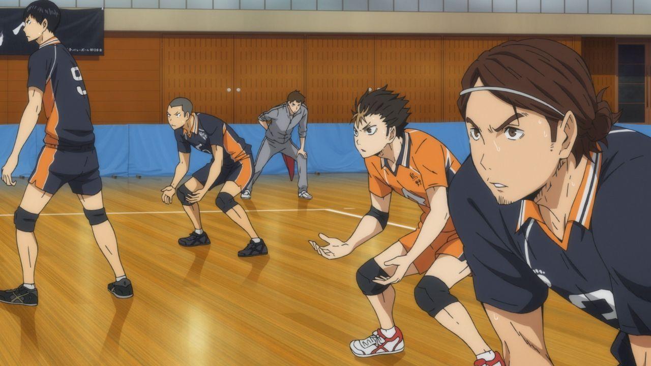 """(v.l.n.r.) Tobio Kageyama; Ryunosuke Tanaka; Yu Nishinoya; Asahi Azumane - Bildquelle: H.Furudate / Shueisha,""""Haikyu!!"""" Project, MBS Instinct"""