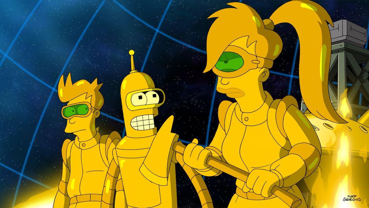 Müssen bei einem Minenunfall eingreifen: Leela (r.), Bender (M.) und Fry (l.) ... - Bildquelle: Twentieth Century Fox Film Corporation. All rights reserved.