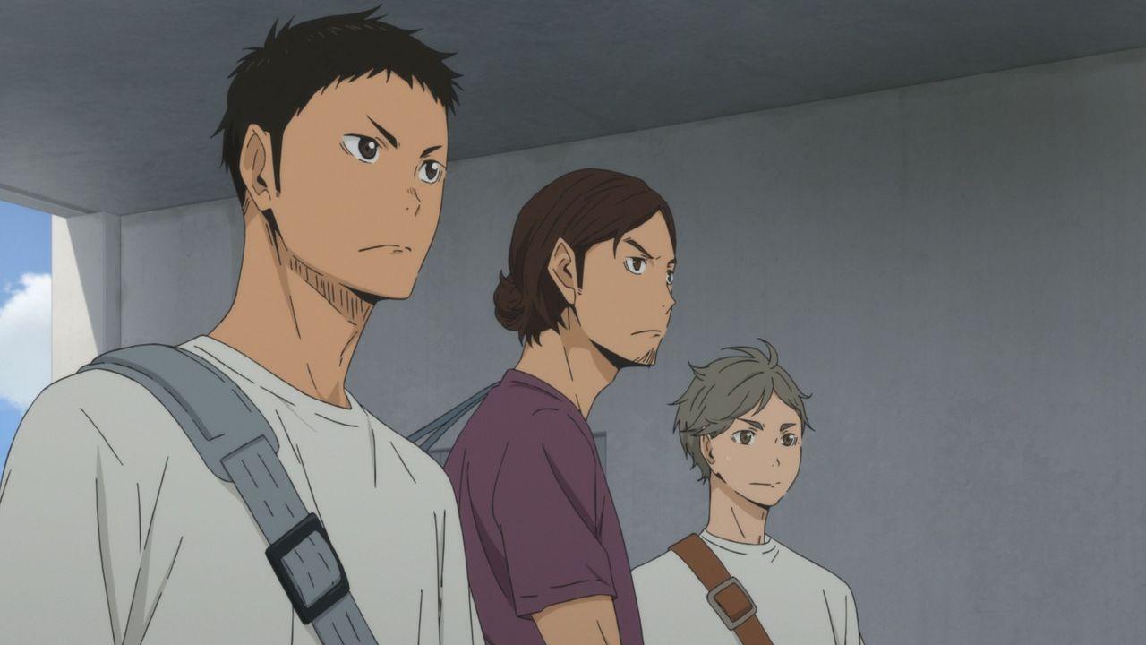 "(v.l.n.r.) Daichi Sawamura; Asahi Azumane; Koshi Sugawara - Bildquelle: H. Furudate / Shueisha, ""HAIKYU!! 2nd Season"" Project, MBS  All Rights Reserved."