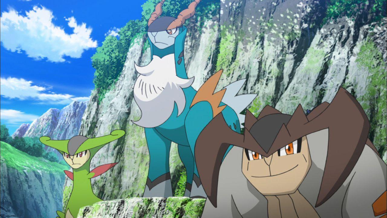 Viridium (l.), Kobalium (M.) und Terrakium (r.)  versuchen, Keldeo zu retten, nachdem er ohne Einwilligung der Ritter der Redlichkeit einen gefährli... - Bildquelle: 2014 Pokémon.   1997-2014 Nintendo, Creatures, GAME FREAK, TV Tokyo, ShoPro, JR Kikaku. TM, ® Nintendo.