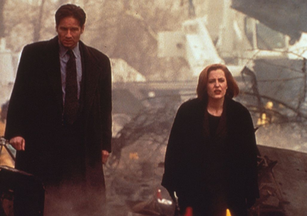 Scully (Gillian Anderson, r.) und Mulder (David Duchovny, l.) suchen an der Absturzstelle eines Passagierflugzeugs nach einem alten Bekannten, der u... - Bildquelle: TM +   2000 Twentieth Century Fox Film Corporation. All Rights Reserved.
