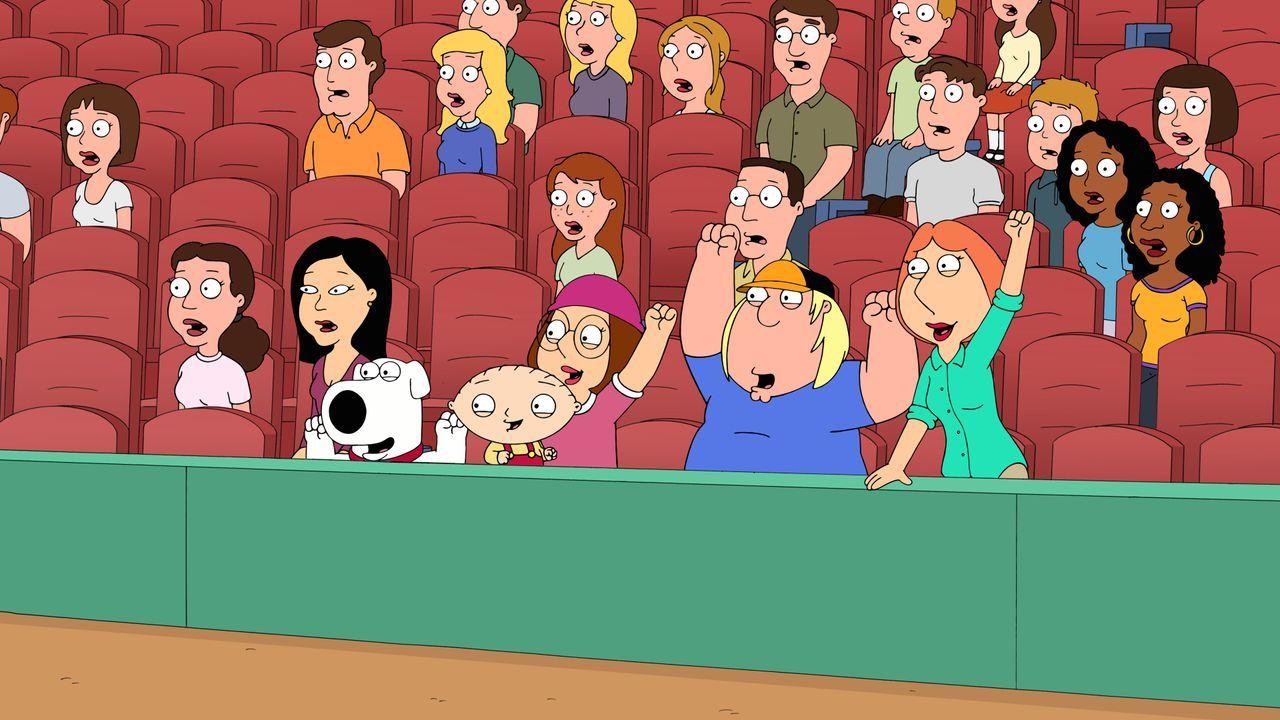 Peter wird von (v.l.n.r.) Brian, Stewie, Meg, Chris und Lois auf der Tribüne des Baseballspiels angefeuert und zu Höchstleistungen motiviert ... - Bildquelle: 2016-2017 Fox and its related entities. All rights reserved.