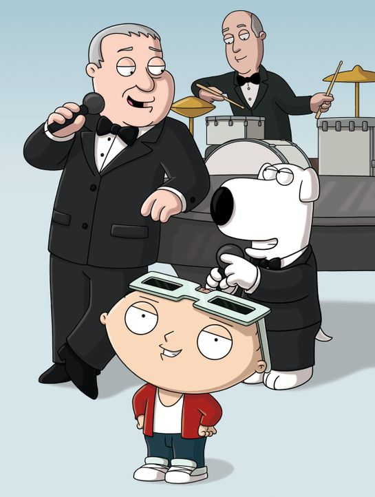 Frank Sinatra (l.) ist in die Stadt zurückgekehrt und tritt zusammen mit Brian (r.) im Quahog Cabana Club auf. Stewie (M.) hat eine Idee, wie man no... - Bildquelle: 2006-2007 Twentieth Century Fox Film Corporation. All rights reserved.