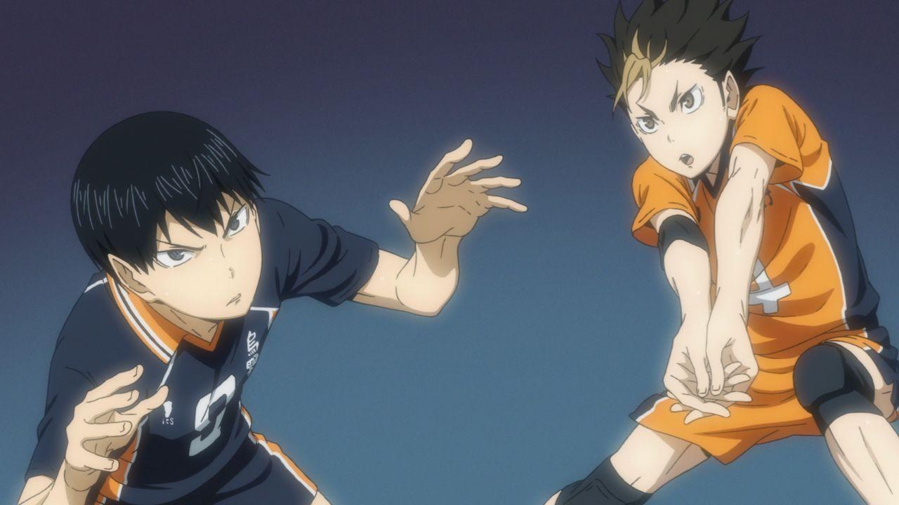(v.l.n.r.) Tobio Kageyama; Yu Nishinoya - Bildquelle: H. Furudate / Shueisha, >HAIKYU!! 2nd Season< Project, MBS  All Rights Reserved.