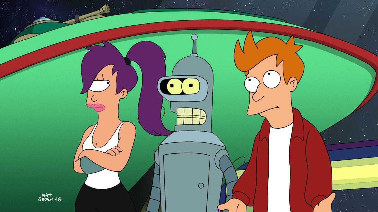Nachdem Ausfall der dunklen Materie müssen sich Leela (l.), Bender (M.) und Fry (r.) eine Quelle für Treibstoff suchen ... - Bildquelle: 2008 Twentieth Century Fox Film Corporation. All rights reserved.