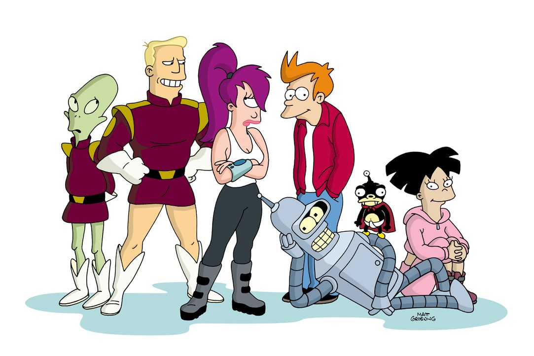 (7. Staffel) - Futurama - New York und die Welt im Jahr 3000: (v.l.n.r.) Kiff K., Zapp Brannigan, Leela, Fry, Bender, Nibbler und Amy ... - Bildquelle: 2003 Twentieth Century Fox Film Corporation. All rights reserved.