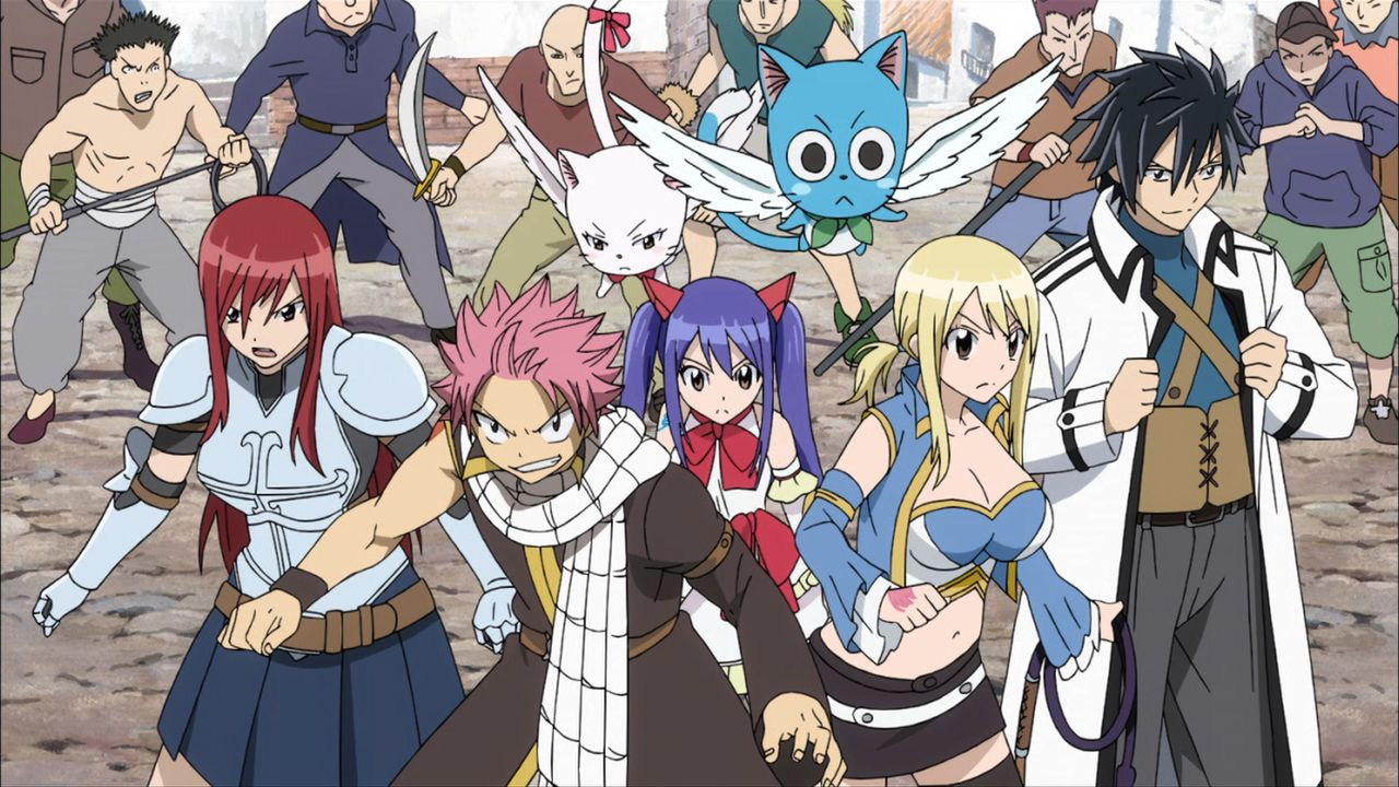 (v.l.n.r.) Elza Scarlet; Natsu Dragneel; Carla; Wendy Marvell; Happy; Lucy Heartfilia; Gary Fullbuster - Bildquelle: Hiro Mashima,KODANSHA/FAIRY TAIL DC Movie Committee. All Rights Reserved.