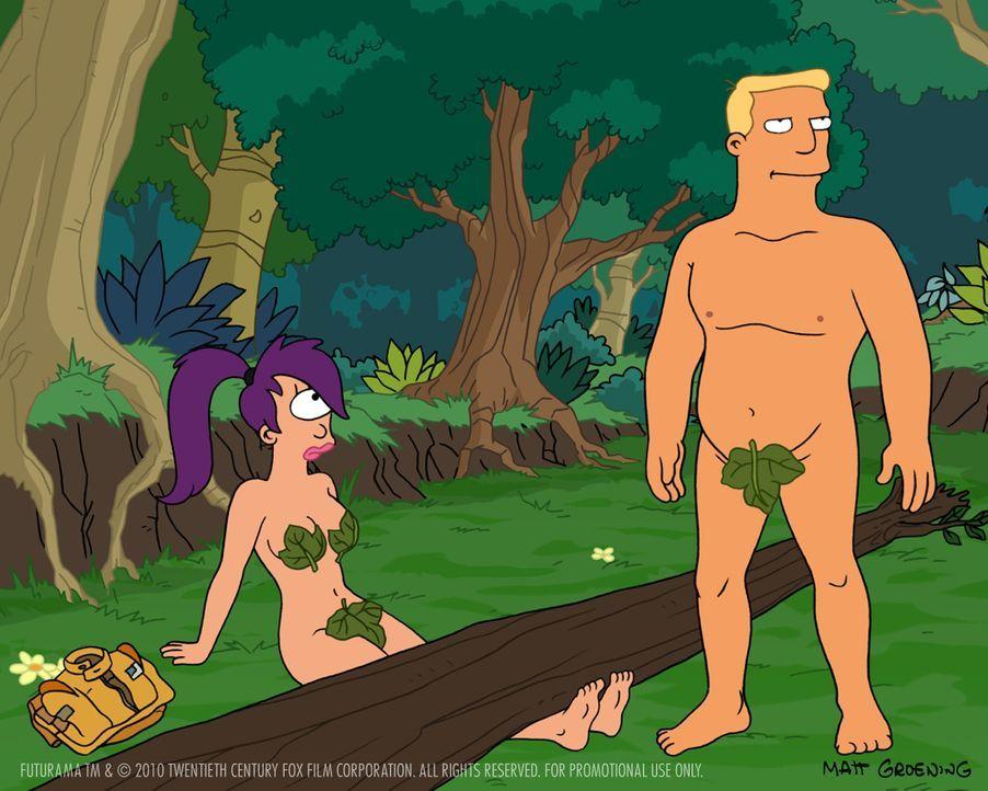 Zapp Brannigan (r.) und Leela (l.) sind während eines Einsatzes auf einer einsamen Insel auf der Erde gelandet. Er erzählt ihr, dass die Erde zerstö... - Bildquelle: 2003 Twentieth Century Fox Film Corporation. All rights reserved.