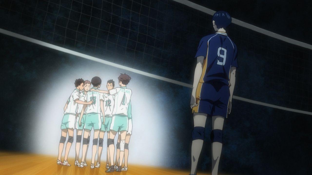 """Volleyballteam der Aobajosai Oberschule (l.); Tobio Kageyama (r.) - Bildquelle: H.Furudate / Shueisha,""""Haikyu!!?Project, MBS"""