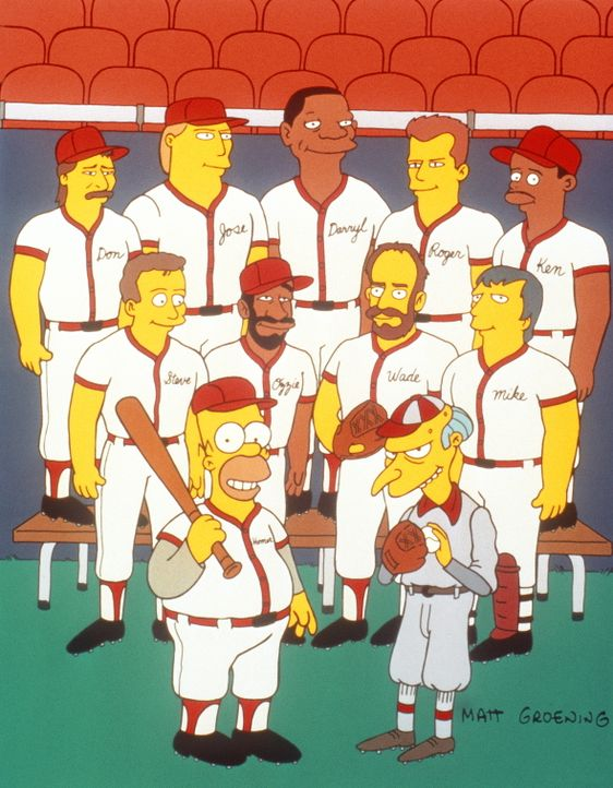 Die betriebseigene Baseballmannschaft von Mr. Burns (vorne r.) tritt im Städtewettkampf an. In der Regel ist diese Mannschaft nicht besonders erfolg... - Bildquelle: und TM Twentieth Century Fox Film Corporation - Alle Rechte vorbehalten