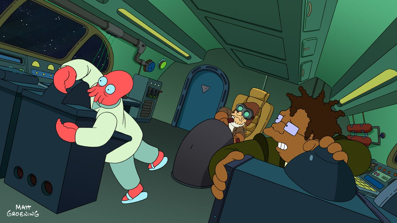 Während sie vom Mars fliehen, haben Zoidberg (l.), Professor Hubert (M.) und Hermes (r.) Probleme mit dem Minigolf-Platz im All ... - Bildquelle: 2009 Twentieth Century Fox Film Corporation. All rights reserved.
