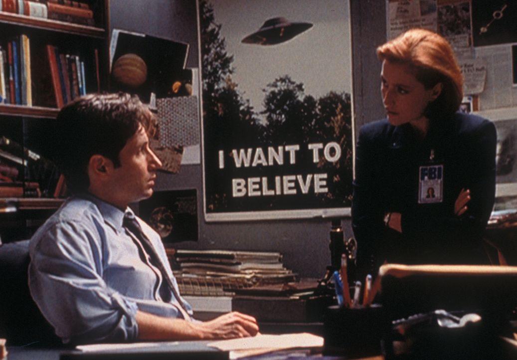 Als Mulder (David Duchovny, l.) seiner Kollegin Scully (Gillian Anderson, r) erklärt, dass sie nach Texas fliegen sollen, weil es dort angeblich Vam... - Bildquelle: TM +   2000 Twentieth Century Fox Film Corporation. All Rights Reserved.
